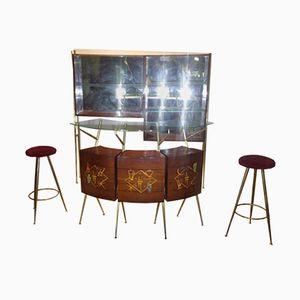 Schrank mit Bar & 2 Hockern, 1950er