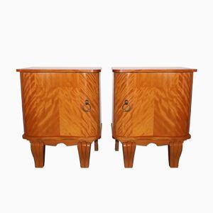 Armoires Art Deco Citronier & Laiton, Set de 2