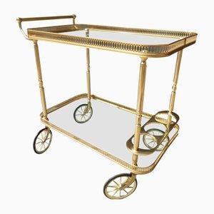 Vintage Golden Serving Cart on Wheels