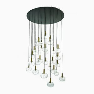 Mid-Century Large Italian Brass & Bubble Glass Chandelier from Indoor, 1960s