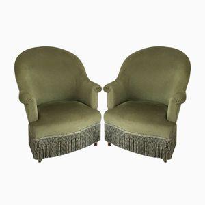 Grüne antike französische Sessel, 2er Set