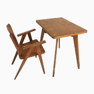 Französischer Kinder Schreibtisch & Stuhl, 1960er