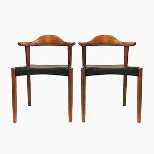 Model 3069 Teak Leather Bull Horn Chairs by Harry Østergaard for Randers Møbelfabrik, 1960s, Set of 2