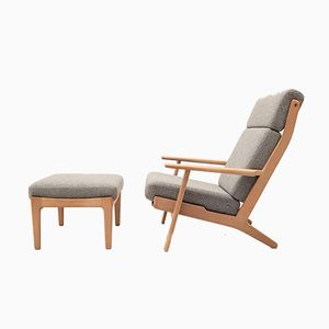 GE290 Highback Oak Chair with Ottoman by Hans J. Wegner for Getama, 1950s