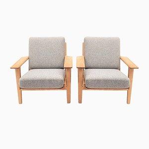 GE290 Eiche Sessel von Hans J. Wegner für Getama, 1950er, 2er Set