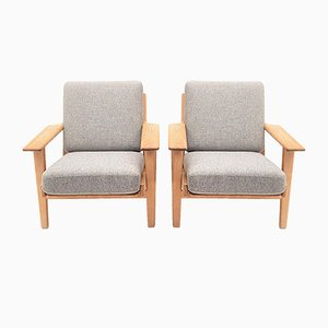 GE290 Oak Lounge Chairs by Hans J. Wegner for Getama, 1950s, Set of 2