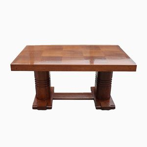 Vintage Art Deco Oak Table from Charles Dudouyt, 1940s