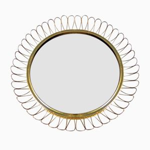 Runder Spiegel mit Schlaufen Messing Rahmen, 1960er