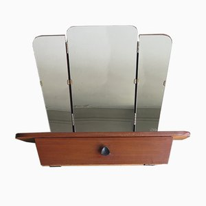 Specchio peighevole con mensola e piccolo scomparto chiuso, anni '50