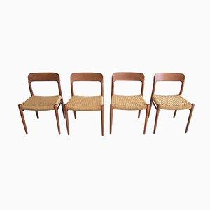 Vintage Modell 75 Stühle von Niels O. Møller, 4er Set