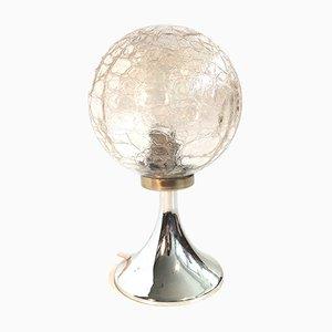 Kleine Mid-Century Tischlampe mit Craquele Glas Schirm, 1960er