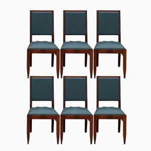 Art Deco Oak Chairs from Charles Dudouyt, 1940s, Set of 6