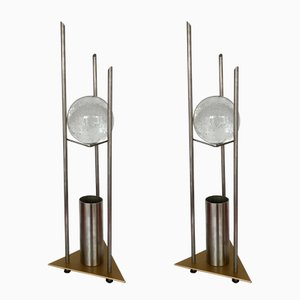 German Glass Ball Table Lamps by RW Manufaktur, 1980s, Set of 2