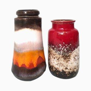 Mid-Century Keramik Vasen von Scheurich, 2er Set, 1960er