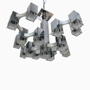 Italian Cubic Chandelier by Gaetano Sciolari, 1970s