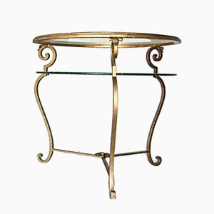 Gilt Metal 2-Tiered Italian Side Table, 1950s