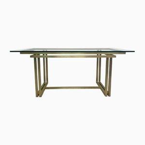 Italienischer rechteckiger Vintage Messing & Glas Tisch, 1970er