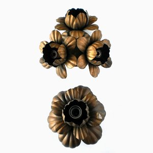 Vintage Italian Metal Flower Wall Lights, Set of 2