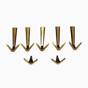 Mid-Century Brass Hooks, Set of 7
