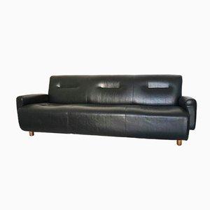 Italian Black Leather 3-Seater Sofa, 1970s