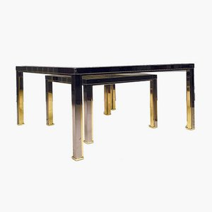 Brass, Chrome & Glass Coffee Tables, 1970s, Set of 2