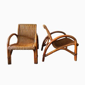 Mid-Century Bamboo & Rattan Lounge Chairs with Curved Arms, 1960s, Set of 2