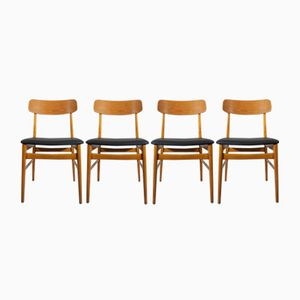 Vintage Side Chairs in Teak and Beech, Set of 4