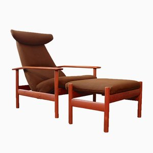 Norwegian Lounge Chair with Stool by Sven Ivar Dysthe for Dokka Møbler