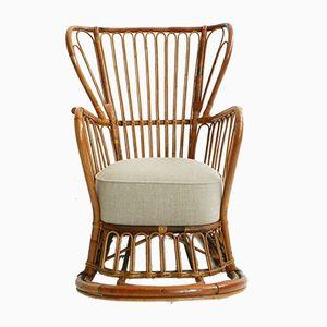 Rocking Chair en Rotin, Italie, 1950s
