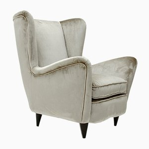 Grey Velvet Armchair, 1950s