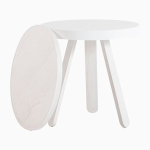 Small White Batea Tray Table by Daniel García Sánchez for WOODENDOT