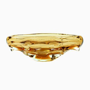 Czechoslovakian Amber Glass Bowl by Jan Beranek for Skrdlovice, 1960s