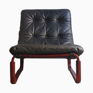 Vintage Sessel mit schwarzem Leder Bezug & Palisander Furnier