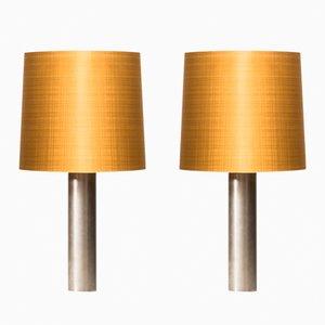 Mid-Century Scandinavian Table Lamps in Steel, 1960s, Set of 2