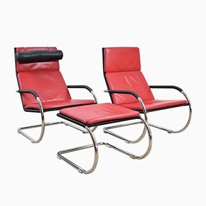 Vintage Red Krag Chairs with Footrest from Tecta, Set of 2