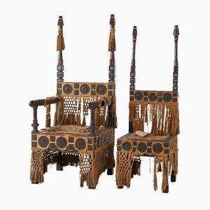 Antike Thron Stühle von Carlo Bugatti, 2er Set