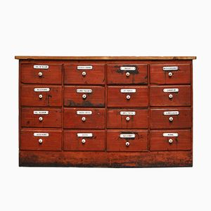 Painted Pine Apothecary Cabinet with 16 Drawers, 1900s