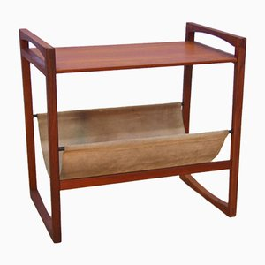 Danish Magazine Rack in Teak & Suede, 1960s