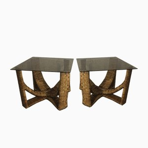 French Bamboo & Rattan Side Tables, 1970s, Set of 2