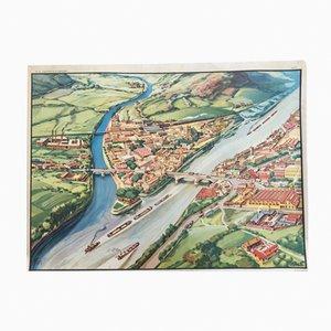 Plakat mit Nebenflüssen & Mündungsgebieten von MDI, 1960er