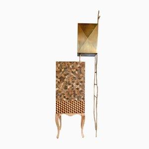 Bouisoun Messing & Holz Intarsien Schrank von Andrea Bouquet, 2018