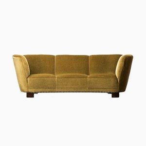 Großes geschwungenes Sofa aus grünem & gelbem Samt, 1930er