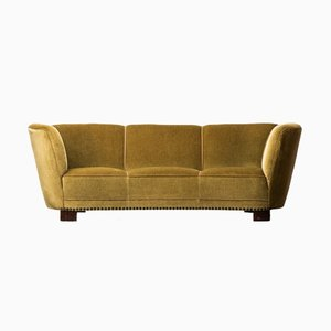 Large Curved Sofa in Green & Yellow Velvet, 1930s