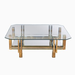 Brass & Glass Coffee Table, 1970s