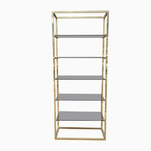 Shelving Unit in Glass & Brass, 1970s