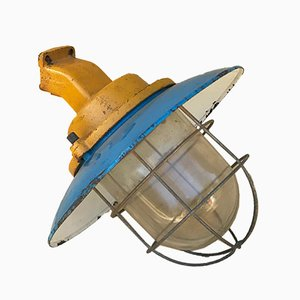 Italian Industrial Iron & Glass Wall Lamp, 1950s