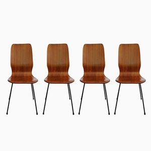 Palisander Esszimmerstühle, 1950er, 4er Set