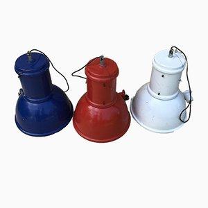 Vintage Italian Industrial Pendant Lamps, Set of 3