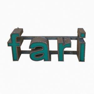 Vintage Glasfaser & Eisen Fari Schriftbild Schild