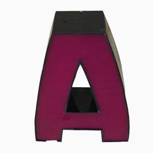 Vintage Black & Fuchsia Plexiglas Letter A